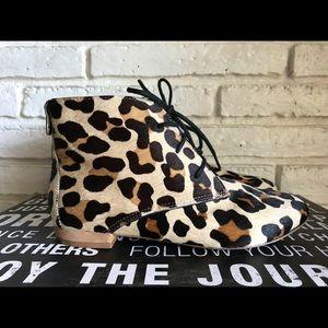 Zara Leopard Print Calf Hair Ankle Boots 6 EU 36